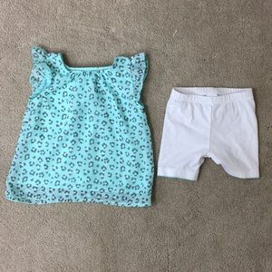 Healthtex Baby Girl Cheetah Print Top Shorts 12 mo